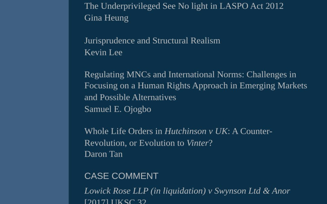 Now available: Legal Issues Journal 5(2) for July 2017
